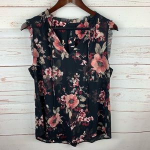 WHVM | Black Pink Floral Sleeveless Tie Front Top
